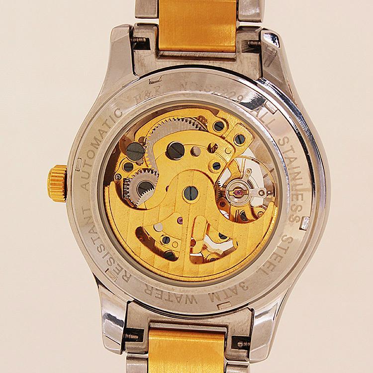 正品福康手表机械表镂空防水 时尚休闲腕表 金色瑞士男士手表钢带 2