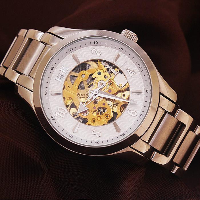 正品福康手表机械表镂空防水 时尚休闲腕表 金色瑞士男士手表钢带 3