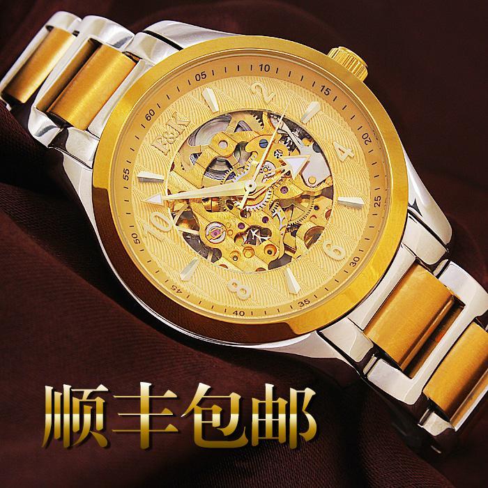 正品福康手表机械表镂空防水 时尚休闲腕表 金色瑞士男士手表钢带 4