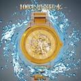 正品福康手表机械表镂空防水 时尚休闲腕表 金色瑞士男士手表钢带 5