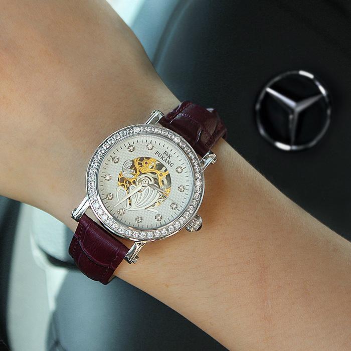 正品真皮皮带女士手表机械表 时尚潮流女水钻 女学生时装手表防水 1