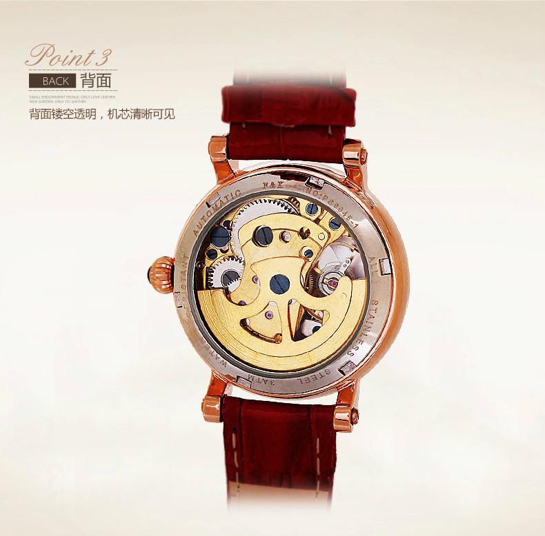 正品真皮皮帶女士手錶機械表 時尚潮流女水鑽 女學生時裝手錶防水 2