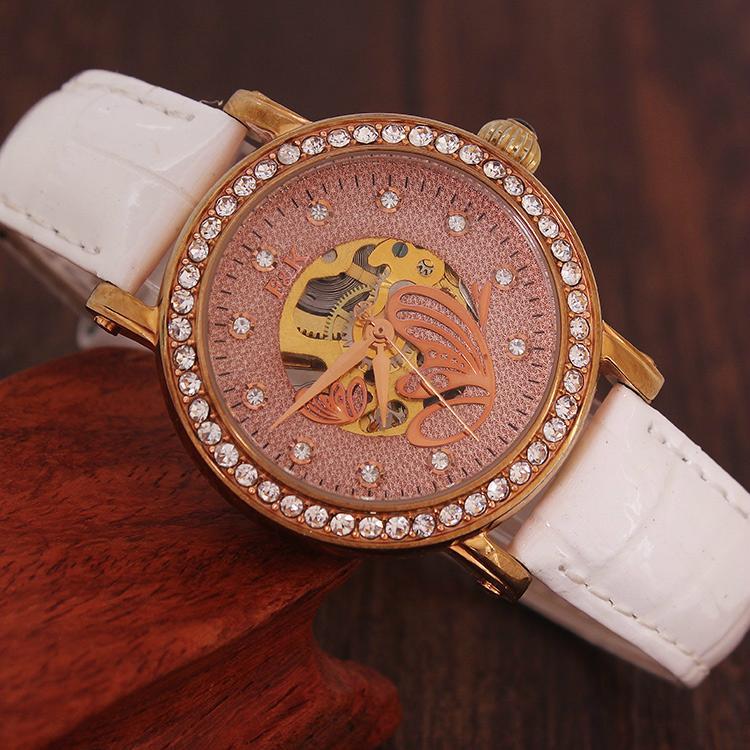 正品真皮皮帶女士手錶機械表 時尚潮流女水鑽 女學生時裝手錶防水 3