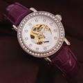 正品真皮皮帶女士手錶機械表 時尚潮流女水鑽 女學生時裝手錶防水 5