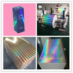 Transfer metallized holographic paper board