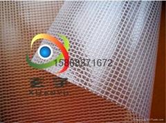 现货供应0.3厚度300*300DPVC透明网格夹网布137平方起发