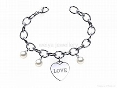 wholesale stainless steel jewelry love heart charms pearl bracelets