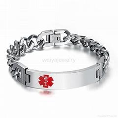 Fashion stainless steel silver men's medical bracelet