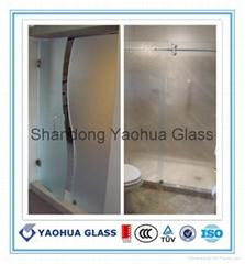 鋼化蒙砂玻璃浴室門   噴砂玻璃