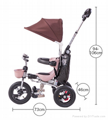 new design folable canopy children tricycle