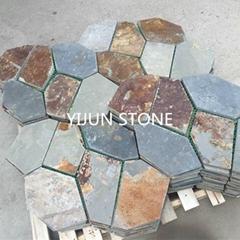 优质天然板岩杂锈组合锈板网贴 公园铺路石材 自然美观 抗压耐磨