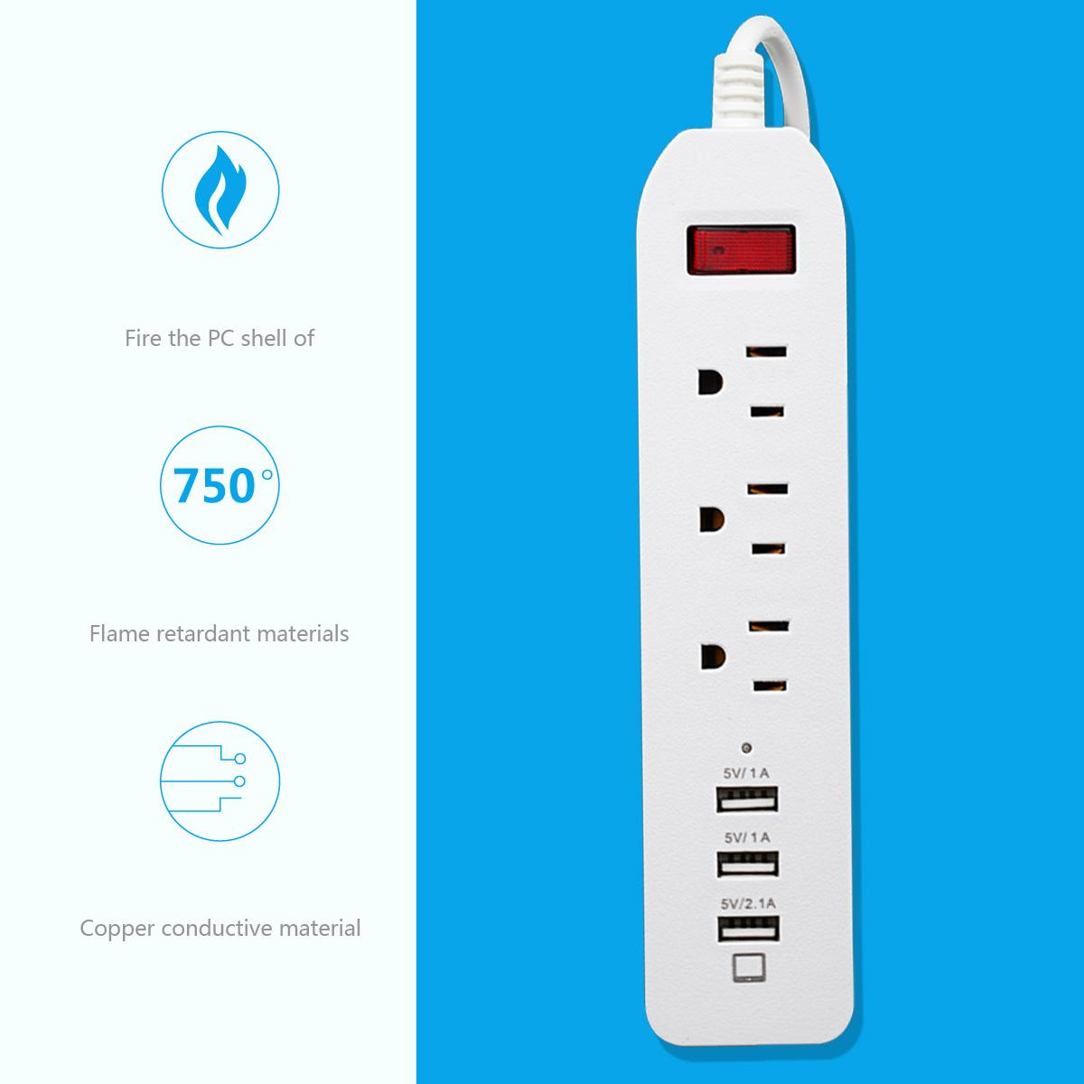 3 outlet smart power socket with 3 port usb US  plug 125v 1.8m extension cord 3