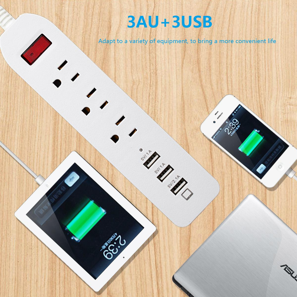 3 outlet smart power socket with 3 port usb US  plug 125v 1.8m extension cord 5