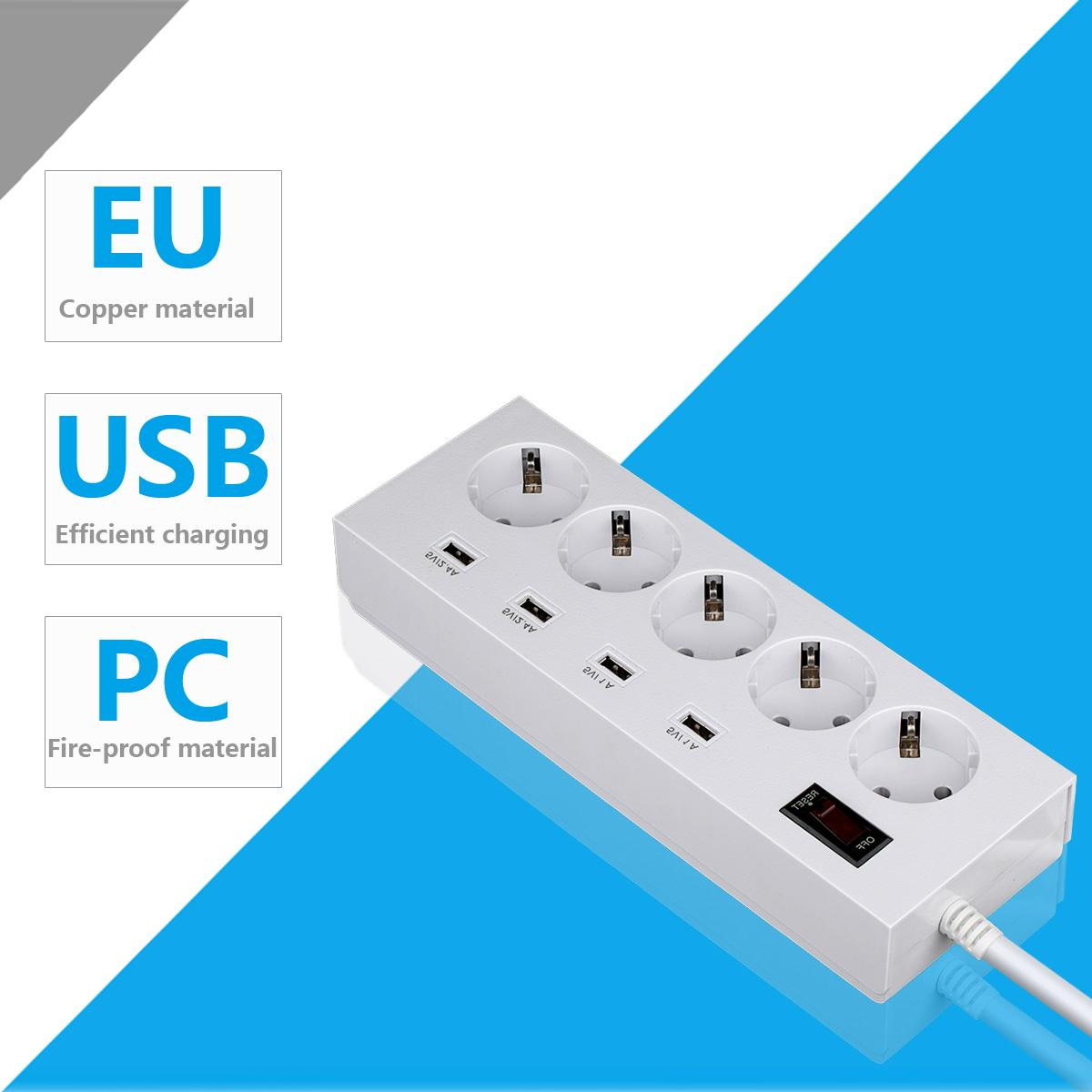 5 way multi extension cord socket strip with 4 usb port surge protector 3