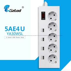 Europe 5 way socket extension strip 4 usb port surge guard