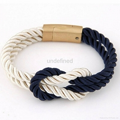 Fashion Braided Rope Chain with Magnetic Clasp Bow Charm bracelet