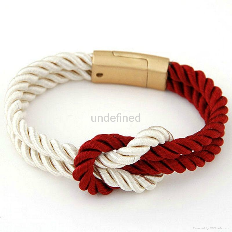 Fashion Braided Rope Chain with Magnetic Clasp Bow Charm bracelet 3