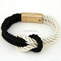Fashion Braided Rope Chain with Magnetic Clasp Bow Charm bracelet 5
