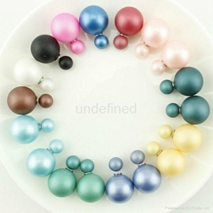 Fashionable Colorful Simulated Double Sided Wear Pearl Stud Earrings