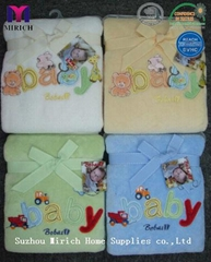 Comfortable Polyester Coral Fleece Embroidery Baby Blanket