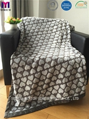 Hot Sale Heart Pattern Soft Poly Fleece Blankets