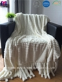 Two Layer Faux Fur Polyester Fleece Blanket With Tassels 2