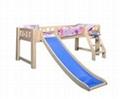 Original wood color loft bed with slide