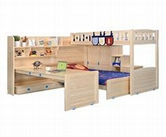 Original wood color combination  functional bed