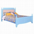 Colorful pine wood single beds with