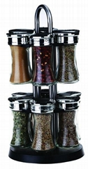 12 jars spice rack with rotating base, empty