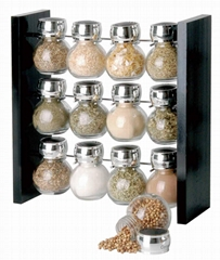 12 jars spice rack with round bottle