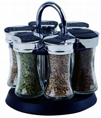 6 jars spice rack with rotating base