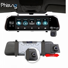 "Phisung factory newest 10"" ADAS 4G rearview car dvr camera"