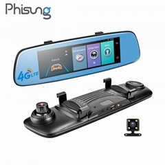 "Phisung factory 7"" 4G bluetooth GPS navigation mirror car DVR dual cams HD1080P"