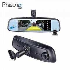 "Phisung 8"" ADAS 4G mirror car DVR dual cams bluetooth GPS navi car recorder"