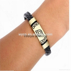 Jewlery Skull Leather Woven Bracelet With Naruto Style Magnetic For Cute Fans