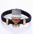Jewlery Skull Leather Woven Bracelet With Naruto Style Magnetic For Cute Fans 2