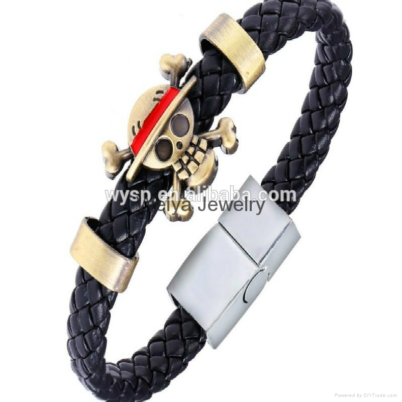 Jewlery Skull Leather Woven Bracelet With Naruto Style Magnetic For Cute Fans 5