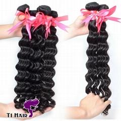 T1 Hair 3 Bundles Grade 6A Brazilian Virgin Human Hair Weft Deep Wave
