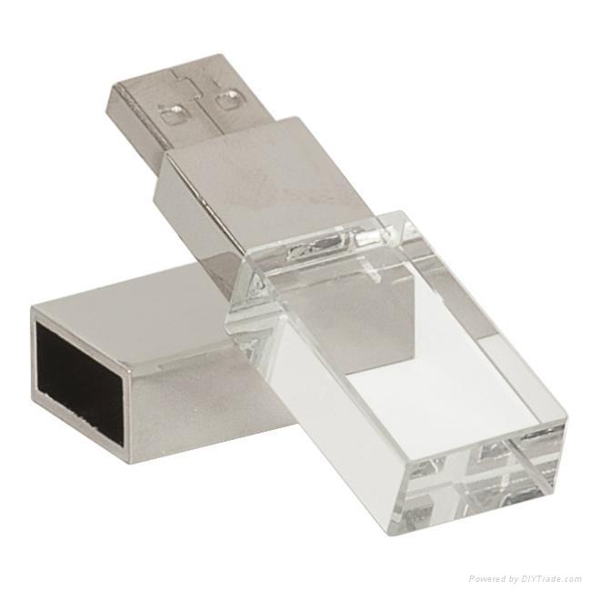 1GB 2GB 4GB 8GB 16GB 32GB Crystal USB Drive With Customized 3D Logo 1