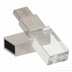 1GB 2GB 4GB 8GB 16GB 32GB Crystal USB Drive With Customized 3D Logo