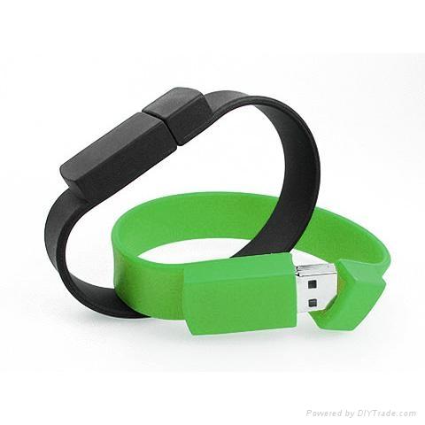 Silicone Wristband Shaped USB Flash Pen Drive Customized Logo 1