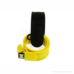 Silicone Bracelet Shaped USB Memory Flash Stick With Custom-made Logo