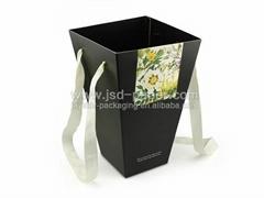 New arrival matt black flower box packaging