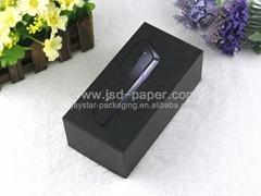 UV coating black cardboard packaging box for mobile