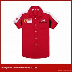 Custom-Made Red and White embroidery F1 Pit Crew Shirts (S63)