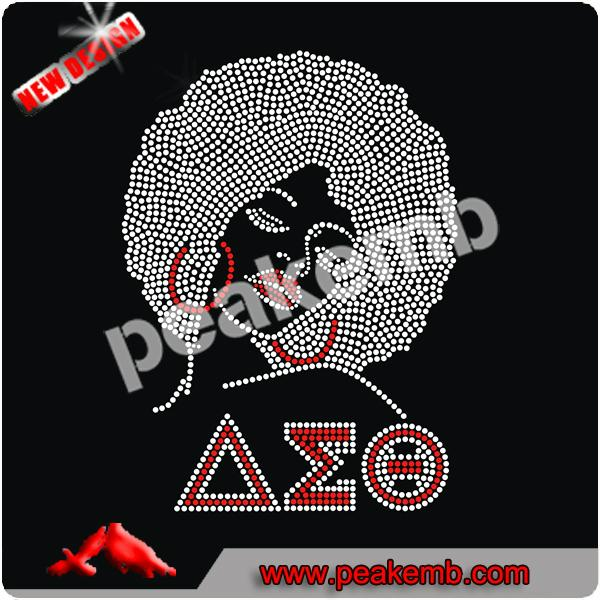 Hot sale custom OES Afro Girl motif rhinestone heat transfer for shirt 4