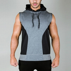 custom men's fashion sleeveless hoody design