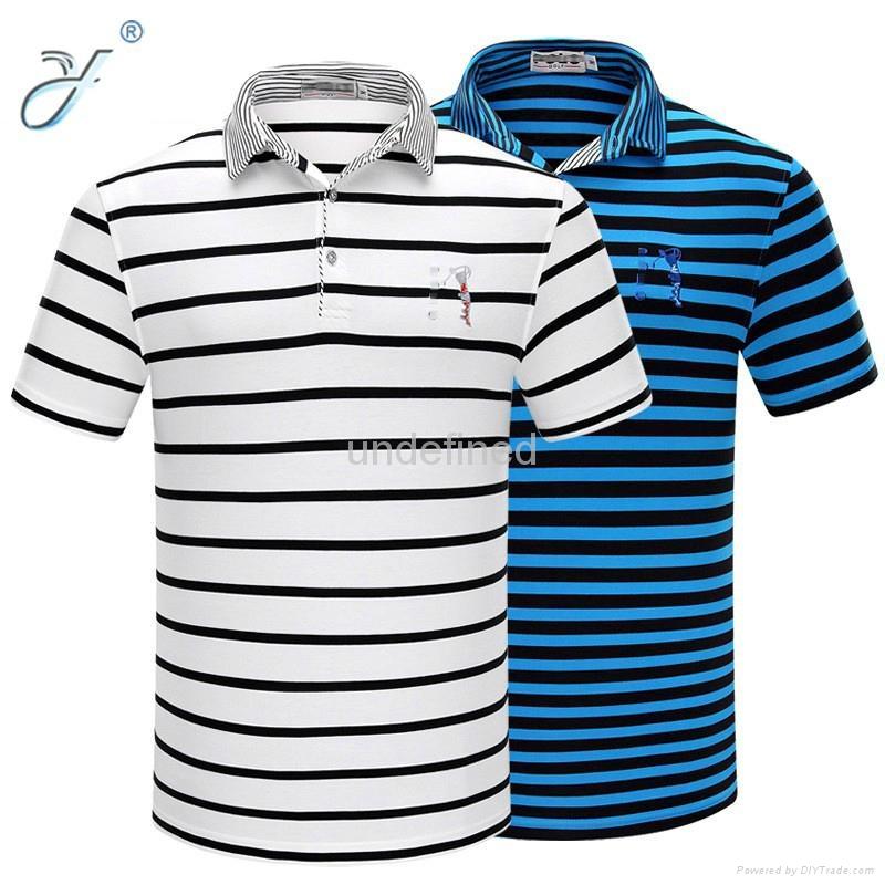 Wholesale Casual Business Man Polo Shirt Stripe Polo Shirt 3