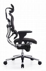 Bonas人体工学电脑椅老板转椅后仰可躺护腰办公椅网布透气椅